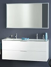Badmöbel, Waschplatz Lysann 4, Set 2-teilig, weiss Hochglanz lackiert Waschbecken Schrank Badschrank Spiegel