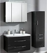Badmöbel Waschplatz Set mit 80cm Spiegelschrank &