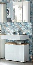 Badmöbel Waschplatz Set mit LED-Spiegelschrank