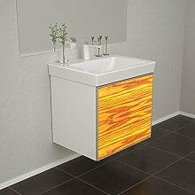 Badmöbel Wooden Leucht-Front Esche Holz mit Villeroy & Boch Waschbecken 50cm