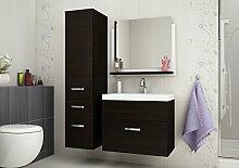 Badmöbelset Badezimmer DORIS Hochglanz Weiß / Wenge exklusive moderne Möbelset Waschbeckenunterschrank / Waschtisch / Spiegel (Wenge / Wenge)