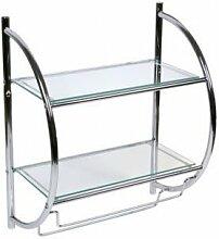 Badregal, Wandregal, Glasregal mit 2 Glasablagen und 2 Handtuchhaltern