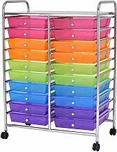Badrollwagen Badtrolley Rollcontainer Badregal Beistellwagen Schubladenschrank mit 20 Schubladen bun