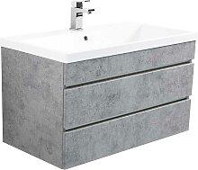 Badschrank in Beton Grau zwei Schubladen