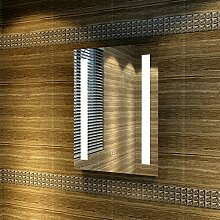 Badspiegel 45x60cm Spiegel (eckig) mit energiesparender LED-Beleuchtung kaltweiß IP44 mit Sensor-Schalter