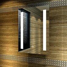 Badspiegel 50x70cm Spiegel (eckig) mit energiesparender LED-Beleuchtung kaltweiß IP44 [Energieklasse A+] beschlagfrei