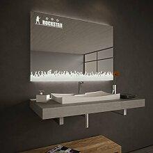 Badspiegel beleuchet mit LED Rockstar - B 900mm x H 600mm - neutralweiss