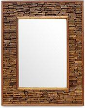 Badspiegel Holz Wandspiegel Holzspiegel Spiegel Holzrahmen Rahmen Thailand Massiv ca.80 x 100 cm Hellbraun
