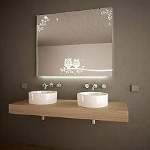 Badspiegel LED mit Motiv Eulen - B 1500mm x H 800mm - warmweiss