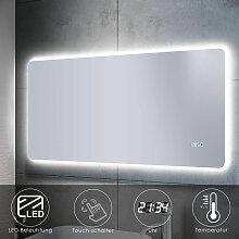 Badspiegel LED Touch 120x60 mit Beleuchtung Uhr