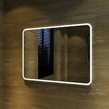 Badspiegel Lichtspiegel Kupfer / bleifreie Spiegel Wandspiegel 80 x 60cm kaltweiß IP44 energiesparend