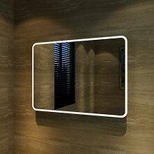 Badspiegel Lichtspiegel Kupfer / bleifreie Spiegel Wandspiegel 90 x 65cm kaltweiß IP44 beschlagfrei
