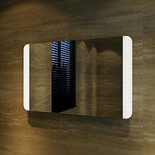 Badspiegel Lichtspiegel Kupfer / bleifreie Spiegel Wandspiegel 80 x 50cm kaltweiß IP44 energiesparend