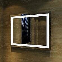 Badspiegel Lichtspiegel Kupfer / bleifreie Spiegel Wandspiegel 90 x 70cm kaltweiß IP44 energiesparend