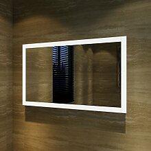 Badspiegel Lichtspiegel Kupfer / bleifreie Spiegel Wandspiegel 100 x 60cm kaltweiß IP44 beschlagfrei