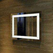 Badspiegel Lichtspiegel Kupfer / bleifreie Spiegel Wandspiegel 60 x 50cm kaltweiß IP44 energiesparend