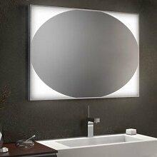 Badspiegel mit Alu-Rahmen Ellipse - B 600mm x H 800mm - warmweiss