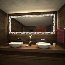 Badspiegel mit Beleuchtung Rosentraum - B 600mm x H 400mm - warmweiss