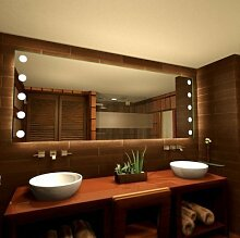 Badspiegel mit Punkten Rays - B 700mm x H 1000mm - neutralweiss