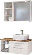 Badspiegel und Waschtisch mit Regal Weiß und