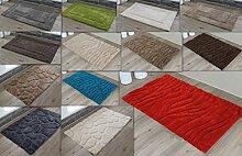 Badteppich 3D Rahmen Welle Steine Badematte Duschvorleger Badvorleger Schadstoffgeprüft (ca. 50x70 cm, Welle sand)