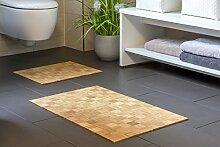 Badteppich KARO nature aus Bambus   40x50cm   Teppich   rutschfest   Bambusmatte   Badematte   Bad   Badezimmer   Saunamatte   WC- Vorleger   Markenprodukt von DE-COmmerce   nachhaltig und ökologisch