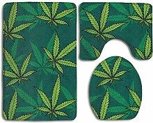 Badteppich Matten Set 3 Stück Cannabis Marihuana