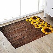 Badteppich und Fußmatte, Sonnenblumen-Motiv, 17
