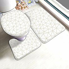 Badteppichset Geometrisches Mosaik Gold und Weiß
