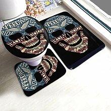 Badteppichset Vintage Label mit Totenkopf