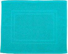 Badvorleger 50 x 40 cm Julie Julsen in Premium Qualität 900 gm2 in aktuellen Farben und 4 Größen aus Baumwolle Badematte Badteppich Duschvorleger Design Doppel Rahmen Türkis