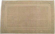Badvorleger 60 x 100 cm Julie Julsen in Premium Qualität 900 gm2 in aktuellen Farben und 4 Größen aus Baumwolle Badematte Badteppich Duschvorleger Design Doppel Rahmen Sand