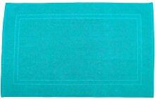 Badvorleger 60 x 100 cm Julie Julsen in Premium Qualität 900 gm2 in aktuellen Farben und 4 Größen aus Baumwolle Badematte Badteppich Duschvorleger Design Doppel Rahmen Türkis