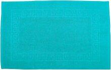 Badvorleger 70 x 120 cm Julie Julsen in Premium Qualität 900 gm2 in aktuellen Farben und 4 Größen aus Baumwolle Badematte Badteppich Duschvorleger Design Spirale Türkis
