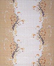 Badvorleger, Aquamat Antirutsch Matte, Bodenbelag, Bad Garten Küche, 120x65 cm, Länge wählbar, Blumen Läufer Hellbraun