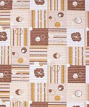 Badvorleger, Aquamat Antirutsch Matte, Bodenbelag, Bad Garten Küche, 150x65 cm, Länge wählbar, Retro Blühte Braun