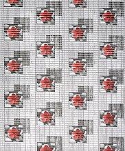 Badvorleger, Aquamat Antirutsch Matte, Bodenbelag, Bad Garten Küche, 600x65 cm, Länge wählbar, Blühte Grau/Ro