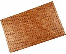 Badvorleger Bambus Holz Badematte 88x60  honigfarben