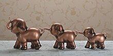 Baegony Europäische Wein Lucky Elephant Handwerk Kreative Wohnzimmer Dekoration Dekoration Drei Niedlichen Baby Elefant Mutter Drei Als Ornamente, Kupfer