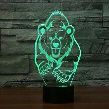 Bär 3d Nachtlicht Led 7 Farbwechsel Fernschalter