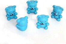 Bär blau 5er Set aus Kunststoff zum Basteln und Werkeln -Süße Geschenkidee - Bastelbedarf zu Weihnachten und Geburtstag