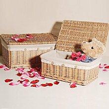 bagehua des Storage Desktop Basket Willow Rattan Garten Korb-Aufbewahrung mit Deckel Home die Lieferungen Tuch Stoff Körbe Korb trumpe