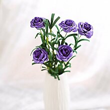 BAGEHUA einen Strauß Blumen Heimtextilien Simulation Soft Outfit Accessoires Möbel Dekorationen Blumen Rose Blume Viole