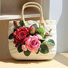 BAGEHUA Handgemachte Rose Stroh Beutel Resort Beach Bag Handtasche Stroh Strandtasche C