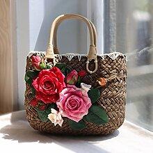 BAGEHUA Handgemachte Rose Stroh Beutel Resort Beach Bag Handtasche Stroh Strandtasche EIN