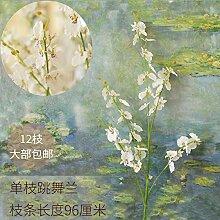 BAGEHUA Schöne tanzen Orchid Silk Blumenornamenten Heimtextilien Blume Simulationsraum Zubehör Gefälschte einzelne Blume Landung einzigen Generation weiß