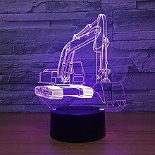 Bagger 3D LED Optische Täuschung Smart Nachtlicht