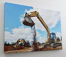 Bagger Baustelle Bau Maschine Leinwand Bild