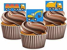 Bagger JCB Kippwagen Kuchen Dekorationen–12Essbare Wafter