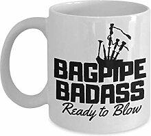 Bagpipe Badass Mug - Ready to Blow Ceramic Coffee